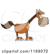 Cartoon Of An Old Brown Horse Royalty Free Vector Clipart by Hit Toon