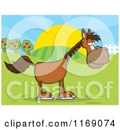 Cartoon Of An Old Brown Horse On A Farm Royalty Free Vector Clipart