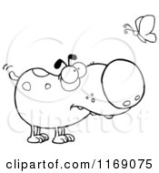 Cartoon Of A Spotted Black And White Dog Watching A Butterfly Royalty Free Vector Clipart