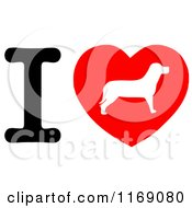 Cartoon Of A Dog Silhouette Heart And Letter I Royalty Free Vector Clipart