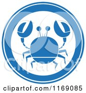 Cartoon Of A Blue Crab Circle Royalty Free Vector Clipart by Hit Toon