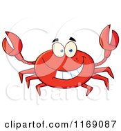 Cartoon Of A Happy Red Crab Royalty Free Vector Clipart by Hit Toon