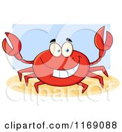 Cartoon Of A Happy Red Crab Over Blue Royalty Free Vector Clipart by Hit Toon