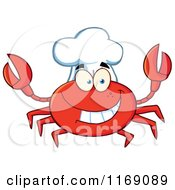 Cartoon Of A Happy Chef Crab Royalty Free Vector Clipart
