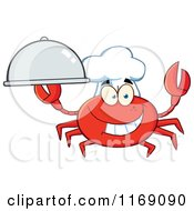 Cartoon Of A Happy Chef Crab Holding A Platter Cloche Royalty Free Vector Clipart