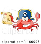 Cartoon Of A Happy Pirate Crab Holding A Treasure Map Royalty Free Vector Clipart by Hit Toon