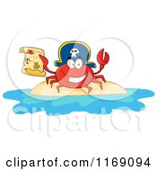 Cartoon Of A Happy Pirate Crab Holding A Treasure Map On An Island Royalty Free Vector Clipart by Hit Toon