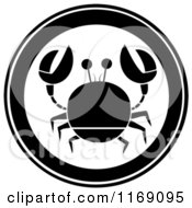 Cartoon Of A Black And White Crab Circle Royalty Free Vector Clipart by Hit Toon