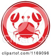 Cartoon Of A Red Crab Circle Royalty Free Vector Clipart by Hit Toon