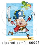 Cartoon Of A Parrot Flying Over A Happy Pirate Running With A Sword And Hook Hand In The Air Royalty Free Vector Clipart by Hit Toon