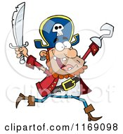 Cartoon Of A Happy Pirate Running With A Sword And Hook Hand In The Air Royalty Free Vector Clipart by Hit Toon