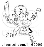 Cartoon Of A Happy Black And White Pirate Running With A Sword And Hook Hand In The Air Royalty Free Vector Clipart by Hit Toon