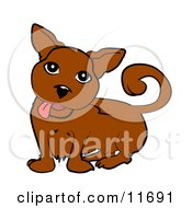 Cute Little Dog Hanging His Tongue Out Clipart Illustration