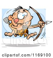 Cartoon Of An Archer Caveman Bpu Running With A Bow And Arrow Over Blue Royalty Free Vector Clipart
