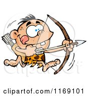 Cartoon Of An Archer Caveman Bpu Running With A Bow And Arrow Royalty Free Vector Clipart