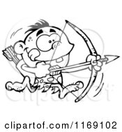 Cartoon Of A Black And White Archer Caveman Bpu Running With A Bow And Arrow Royalty Free Vector Clipart