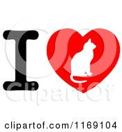 Cartoon Of A Cat Silhouette On A Heart With The Letter I Royalty Free Vector Clipart