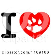 Cartoon Of A Cat Paw Print On A Heart With The Letter I Royalty Free Vector Clipart