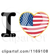 Heart With An American Flag And Letter I