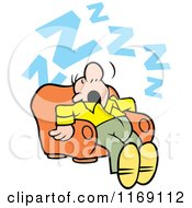 Cartoon Of A Man Getting Some Zs In An Arm Chair Royalty Free Vector Clipart