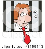 Cartoon Of An Imprisoned Businessman With His Tie Hanging Out Of The Bars Royalty Free Vector Clipart