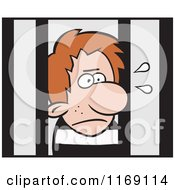 Cartoon Of An Imprisoned Man Behind Bars Royalty Free Vector Clipart by Johnny Sajem