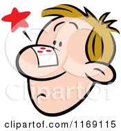 Cartoon Of A Nosy Man With A Bandage On His Face Royalty Free Vector Clipart