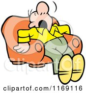 Cartoon Of A Man Dozing In An Arm Chair Royalty Free Vector Clipart