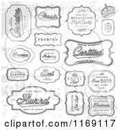 Clipart Of Grungy Grayscale Quality Labels Royalty Free Vector Illustration