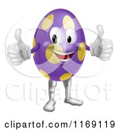 Cartoon Of A Purple Polka Dot Easter Egg Mascot Holding Two Thumbs Up Royalty Free Vector Clipart