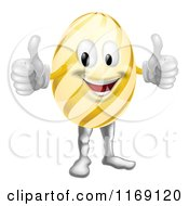 Cartoon Of A Striped Easter Egg Mascot Holding Two Thumbs Up Royalty Free Vector Clipart