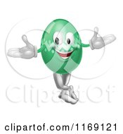 Cartoon Of A Welcoming Green Easter Egg Mascot Royalty Free Vector Clipart