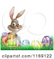 Cartoon Of A Grinning Easter Bunny With Eggs And A Basket In Grass Royalty Free Vector Clipart