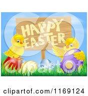 Cartoon Of A Happy Easter Sign With Chicks And Easter Eggs Against Blue Sky Royalty Free Vector Clipart