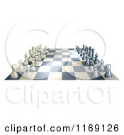 Clipart Of A Chess Board At The Opening Of A Game Royalty Free Vector Illustration