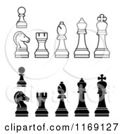 Clipart Of White And Black Chess Pieces Royalty Free Vector Illustration by AtStockIllustration