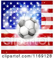 Clipart Of A Soccer Ball Over An American Flag With Fireworks Royalty Free Vector Illustration