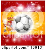 Clipart Of A Soccer Ball Over A Spanish Flag With Fireworks Royalty Free Vector Illustration