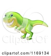Cartoon Of A Green Tyrannosaurus Rex Dinosaur Grinning Royalty Free Vector Clipart by AtStockIllustration