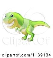 Cartoon Of A Green Tyrannosaurus Rex Dinosaur Grinning Royalty Free Vector Clipart by AtStockIllustration