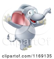 Cartoon Of A Happy Elephant Standing And Holding His Arms Up Royalty Free Vector Clipart
