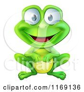 Cartoon Of A Happy Green Frog Smiling Royalty Free Vector Clipart by AtStockIllustration