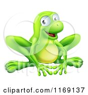 Cartoon Of A Smiling Green Frog Royalty Free Vector Clipart