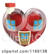 Clipart Of A Red Heart Shaped Home Royalty Free Vector Illustration