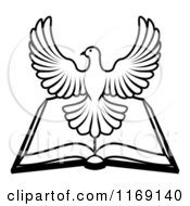 Clipart Of A Black And White Holy Spirit Dove Over An Open Bible Royalty Free Vector Illustration by AtStockIllustration