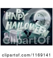 Happy Halloween Greeting With Bats A Full Moon And Tombstones
