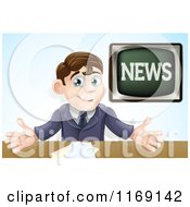 Cartoon Of A Happy Male Anchor Presenting The News Royalty Free Vector Clipart by AtStockIllustration