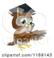Cartoon Of A Professor Owl Wearing A Graduation Cap And Presenting Royalty Free Vector Clipart by AtStockIllustration
