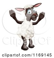 Cartoon Of A Happy Sheep Standing Royalty Free Vector Clipart