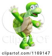 Cartoon Of A Happy Green Tortoise Standing And Waving Royalty Free Vector Clipart by AtStockIllustration